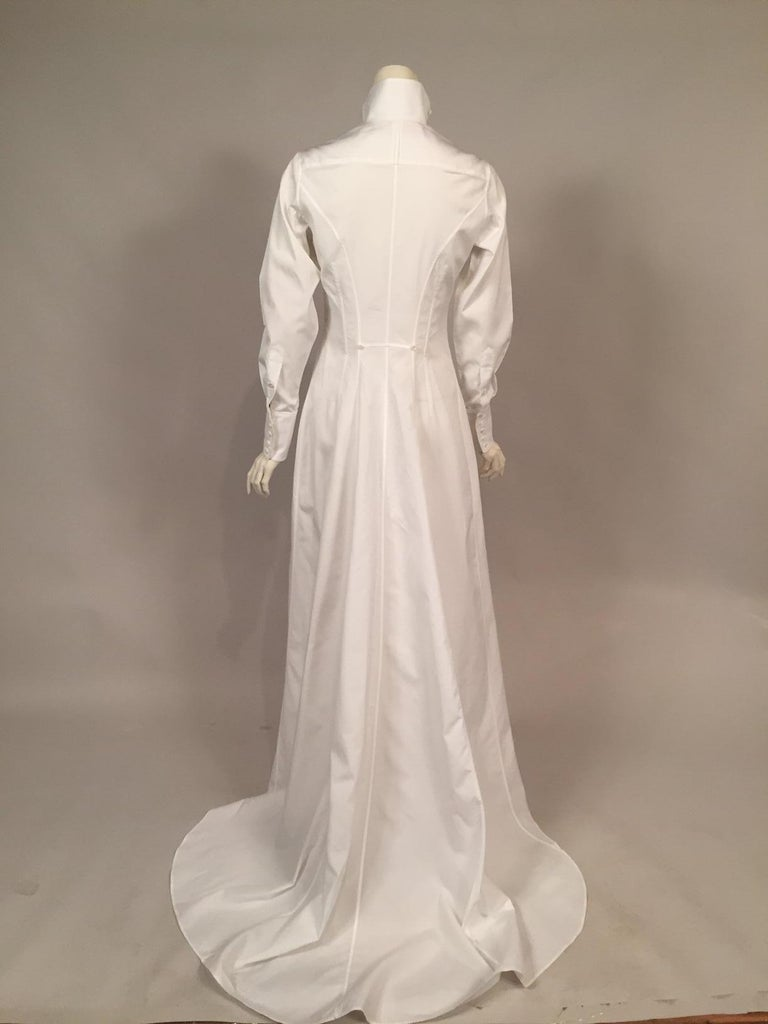Women's Maggie Norris Couture White Cotton Tuxedo Dress with Red Silk Cummerbund For Sale