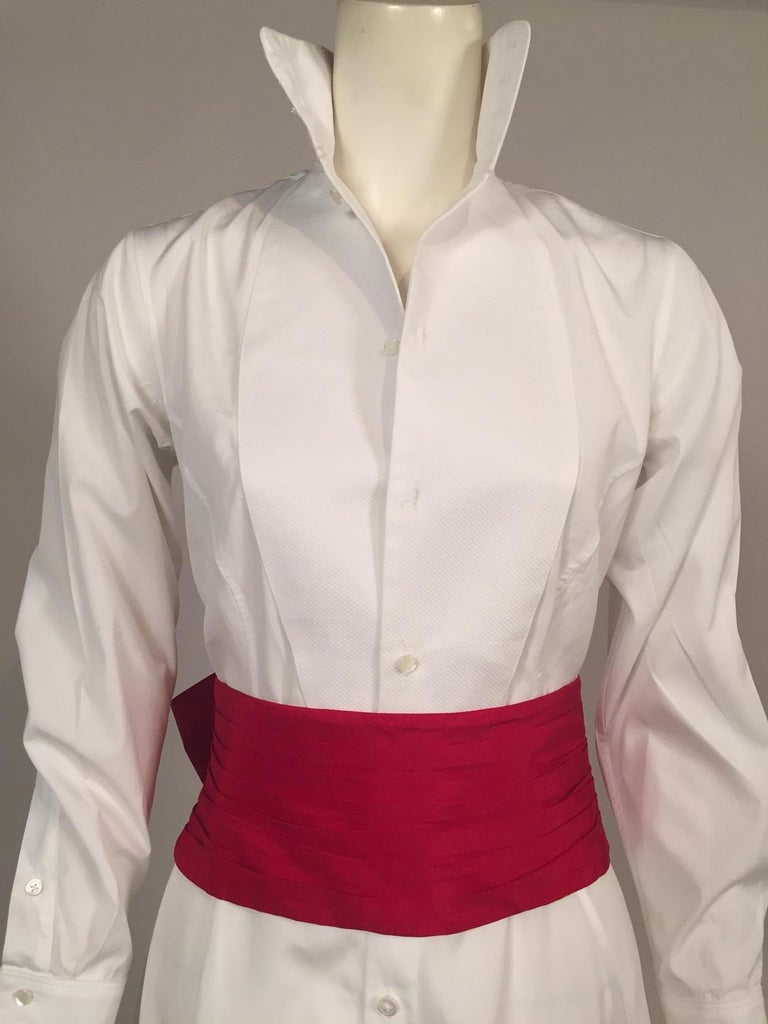 Maggie Norris Couture White Cotton Tuxedo Dress with Red Silk Cummerbund For Sale 3