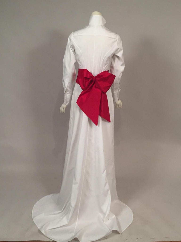 Maggie Norris Couture White Cotton Tuxedo Dress with Red Silk Cummerbund For Sale 4