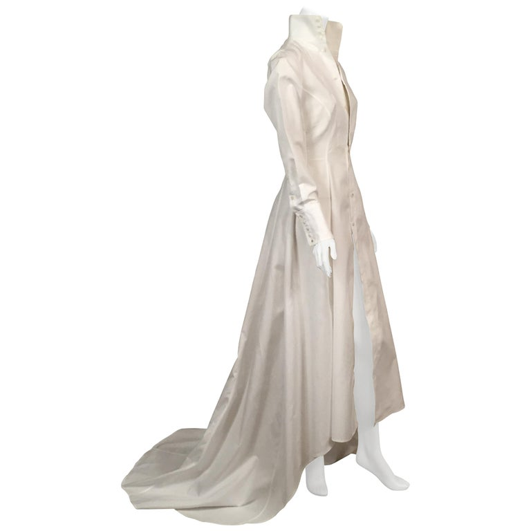Maggie Norris Couture White Cotton Tuxedo Dress with Red Silk Cummerbund For Sale