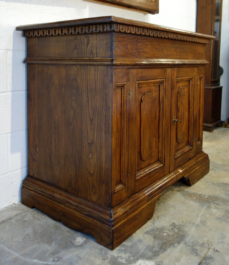 Baroque 18th Century Style Italian Old Chestnut 2 Doors Credenza for Vanity Sink Basin For Sale