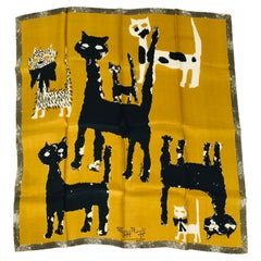 Maggy Rouff The Cats of Paris Silk Scarf in Gold & Black 1960s Art to Frame