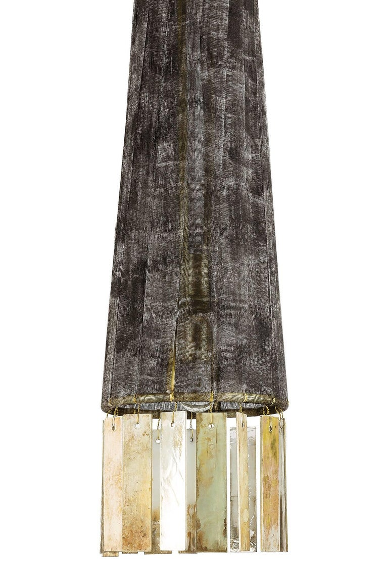 Modern Magic Contemporary Hanging Lamp, Black Hand-Painted Gauze, Double Silvered Glass For Sale