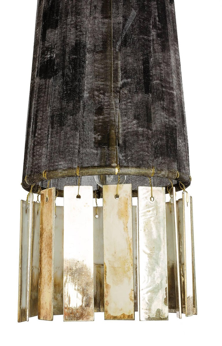 Italian Magic Contemporary Hanging Lamp, Black Hand-Painted Gauze, Double Silvered Glass For Sale