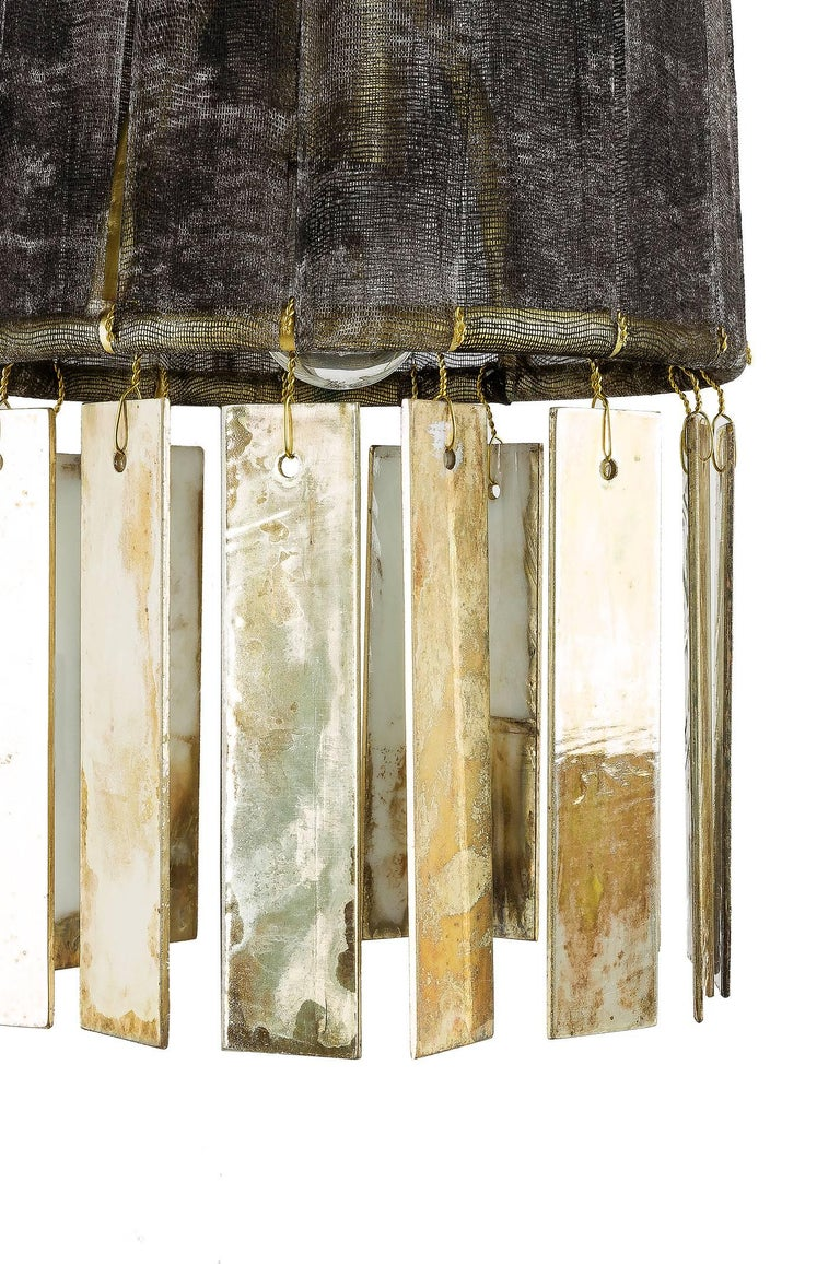 Magic Contemporary Hanging Lamp, Black Hand-Painted Gauze, Double Silvered Glass In New Condition For Sale In Pietrasanta, IT