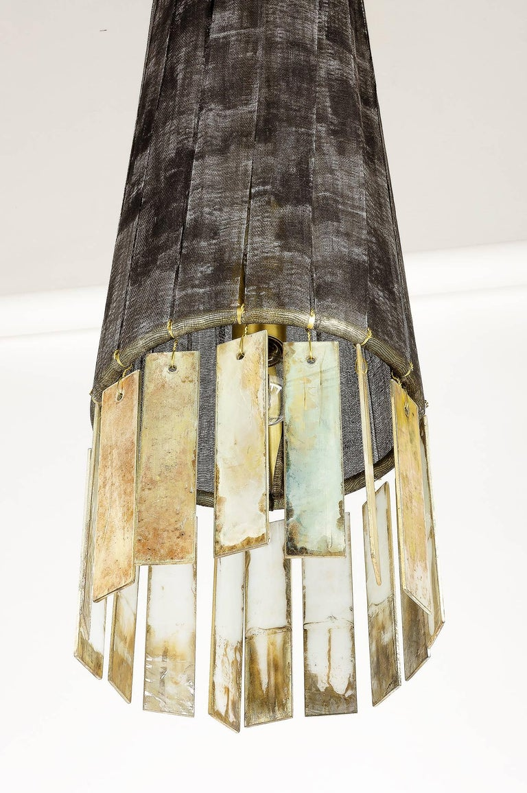 Brass Magic Contemporary Hanging Lamp, Black Hand-Painted Gauze, Double Silvered Glass For Sale