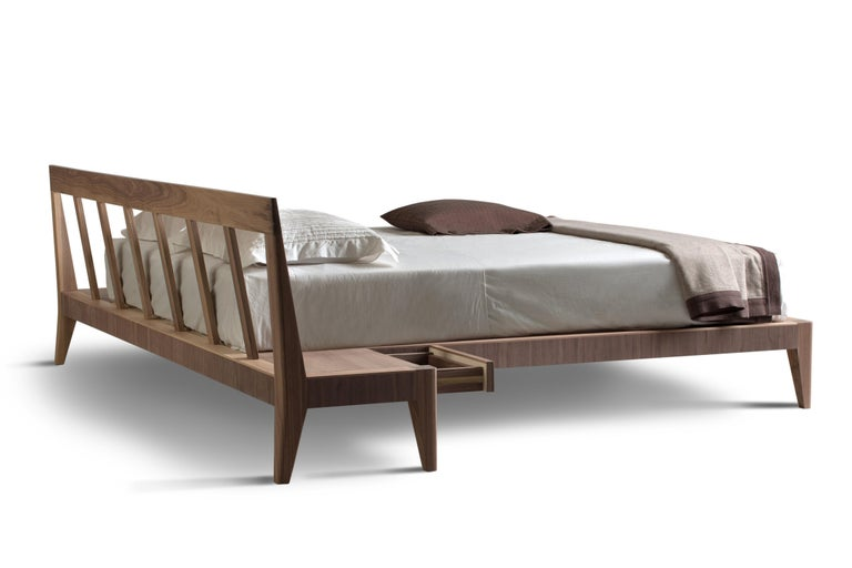 Italian Magic Dream, Contemporary Bed in Ashwood with 2 Drawers, design Giuseppe Viganò For Sale