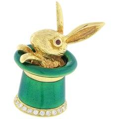 Magic Rabbit Hat, Enamel Gold and Diamond Pendant Brooch