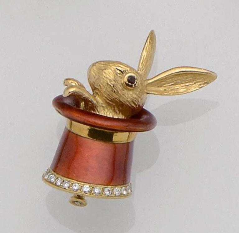 Women's or Men's Magic Rabbit Hat-Trick Diamond and Gold Brooch For Sale