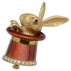 Magic Rabbit Hat-Trick Diamond and Gold Brooch