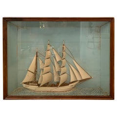 Magical Antique Clipper Ship Shadow Box Diarama