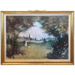 Magical Original Large Landscape of Lady in the Country by Llewelyn