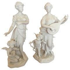 Magical Pair of Antique Parian Porcelain Bisque Musician Maidens