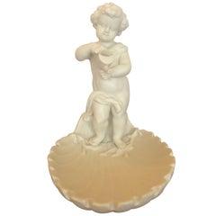 Magical Parian Porcelain Shell Motif Dish with Sculptural Putti