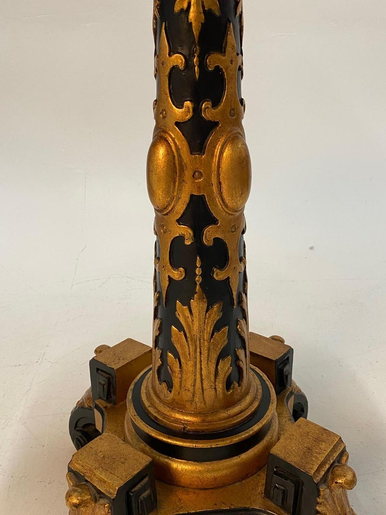 Magical Round Hand Carved Ebonized & Gilt Hand Painted Side Table For Sale 2