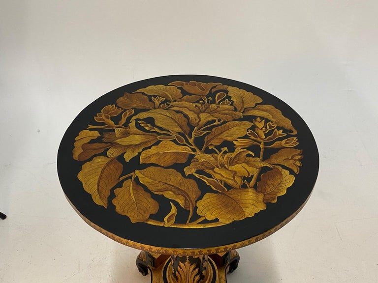 Mid-20th Century Magical Round Hand Carved Ebonized & Gilt Hand Painted Side Table For Sale
