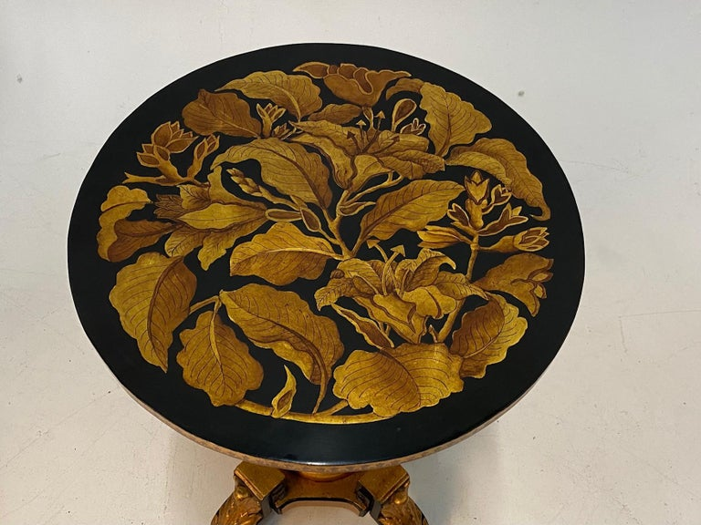 Wood Magical Round Hand Carved Ebonized & Gilt Hand Painted Side Table For Sale