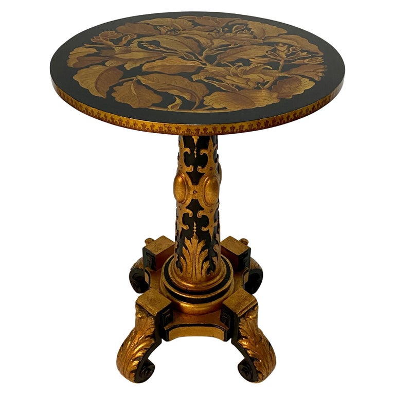 Magical Round Hand Carved Ebonized & Gilt Hand Painted Side Table For Sale