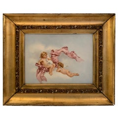 Magical Small Painting on Tile of Putti