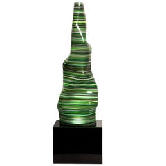 Magikarpet Striped Green Barcode Glass Lamp over Black Granite Lighting Base