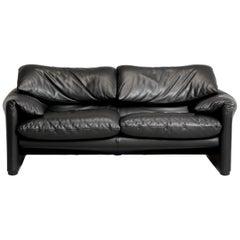Magistretti for Cassina Black Leather Maralunga Two-Seater Sofa, 2000s