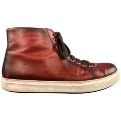 MAGNANNI Size 10 Oxblood Red Antique Leather BRANDO High Top Sneakers