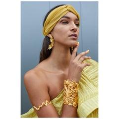 GBGH Jewelry Magnetic Fields Cuff Bracelet in 18kt Gold Plated Brass
