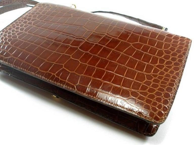 Magnific Vintage Crocodile Leather Bag / No Brand  For Sale 6