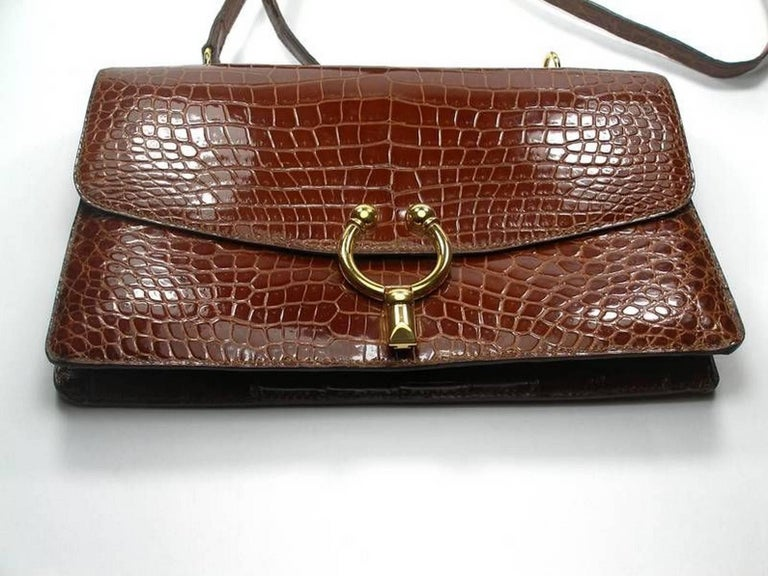 WON-DER-FULL Vintage Croc bag  NO BRAND  Year 1960/1965  Made in france  Color : cognac  Gold plated hadware Strap : 95 cm or 37.4 inches Customs fees and vat are included Thank you for visiting my shop !