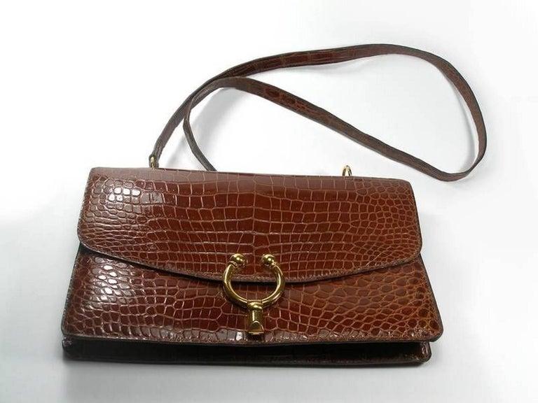 Brown Magnific Vintage Crocodile Leather Bag / No Brand  For Sale