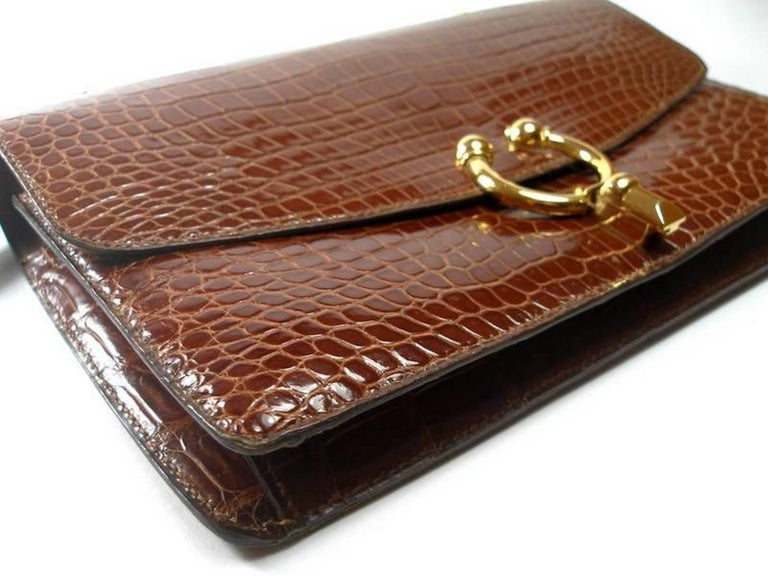 Magnific Vintage Crocodile Leather Bag / No Brand  For Sale 3