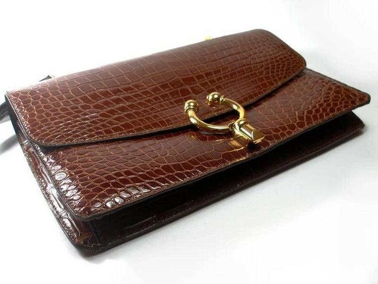 Magnific Vintage Crocodile Leather Bag / No Brand  For Sale 4