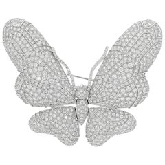 Magnificent 12.15 Carat Diamond Butterfly Brooch By Chatila