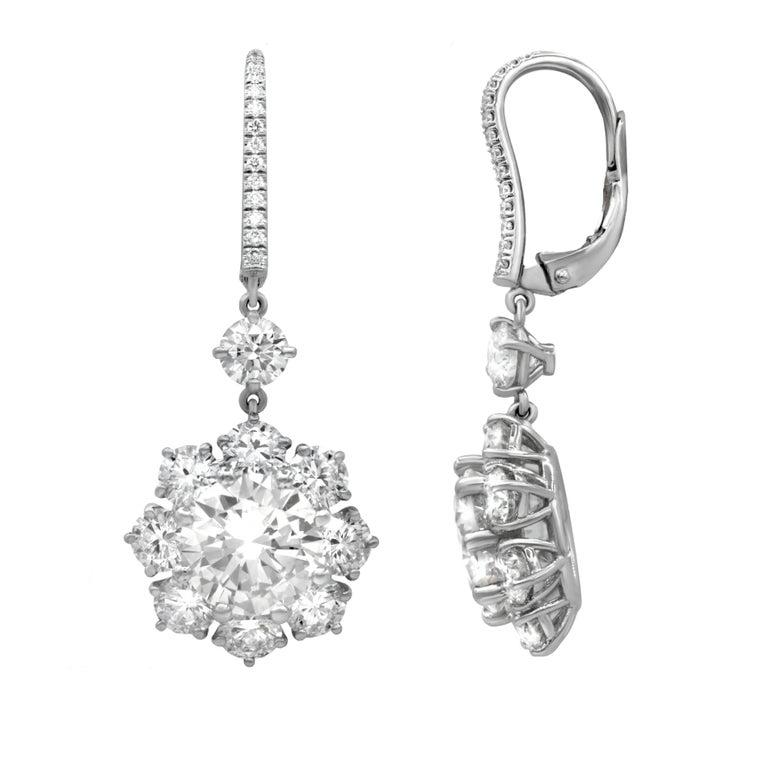 Magnificent 12.17 Carat Round Diamond Earrings