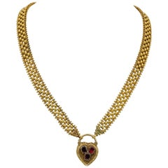 Magnificent 18 Karat gold Mid Victorian Flat Garnet Padlock Boxed Full Necklace