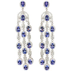 Magnificent 18 Karat Tanzanite Chandelier Earrings