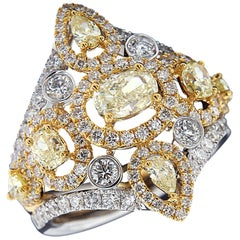 Magnificent 18 Karat White and Yellow Gold and Diamond Ring