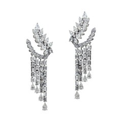 Magnificent 18 Karat White Gold and Diamond Earrings