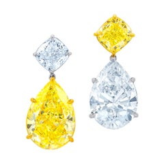 Magnificent 18kt and Platinum Pear Shape Diamond Earrings