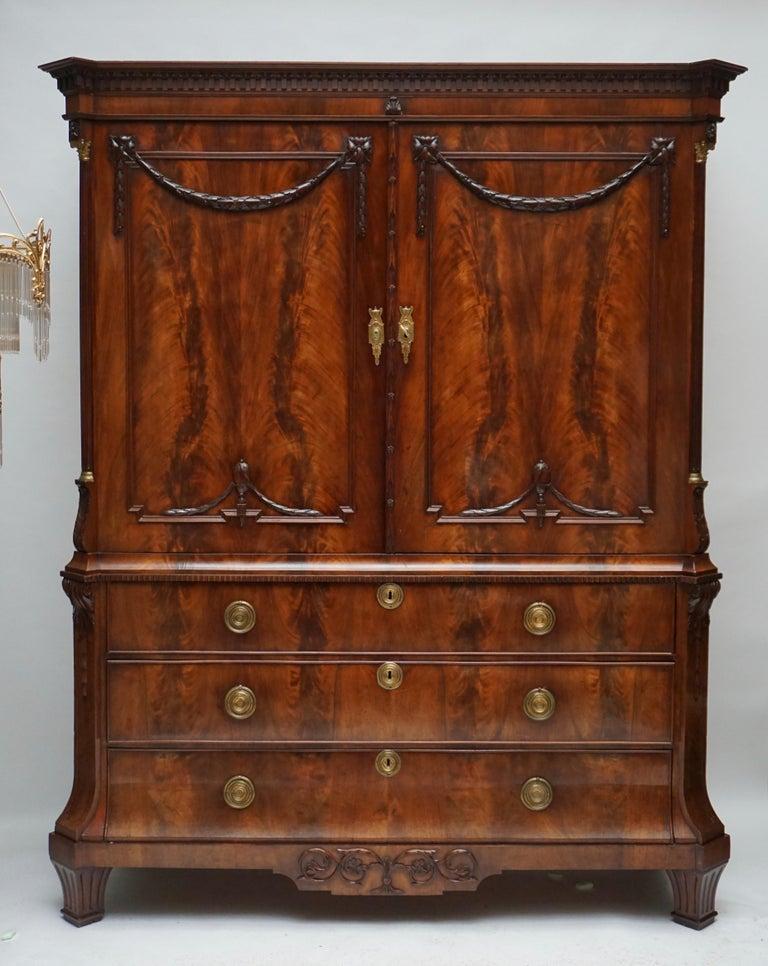Magnificent 18th Century Mahogany Neoclassical Empire Dutch Cabinet For Sale 5