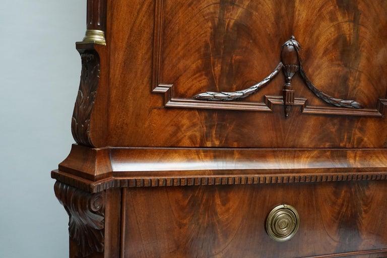 Magnificent 18th Century Mahogany Neoclassical Empire Dutch Cabinet For Sale 12