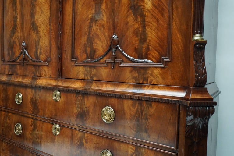 Magnificent 18th Century Mahogany Neoclassical Empire Dutch Cabinet For Sale 3