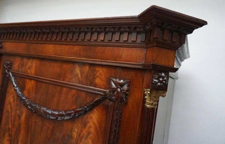 Magnificent 18th Century Mahogany Neoclassical Empire Dutch Cabinet For Sale 4
