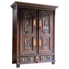 Magnificent 18th Century Oak Cupboard Armoire Heavily Carved, circa 1740