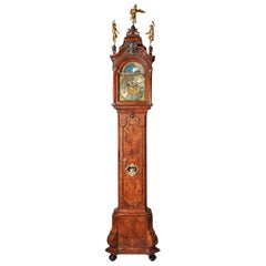 Magnificent 18th Century Striking Dutch Amsterdam Burl Walnut Longcase Clock