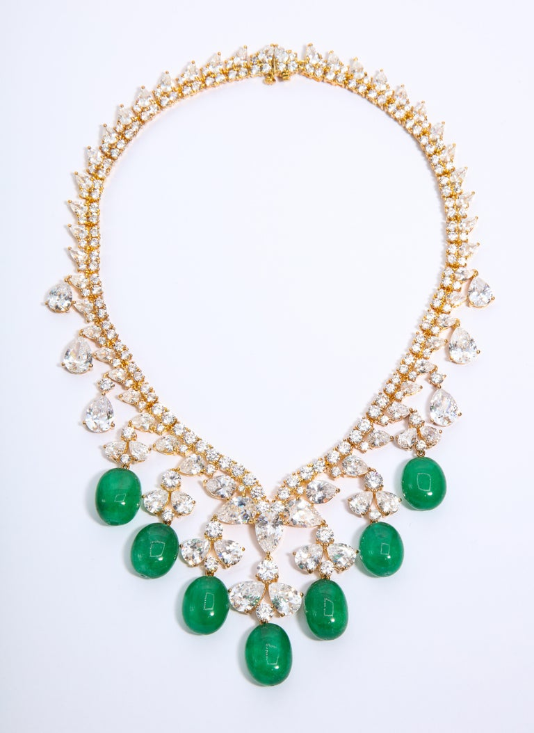 Modern Glamor 1950s Style CZ Faux Cabochon Emerald Drop Necklace For Sale