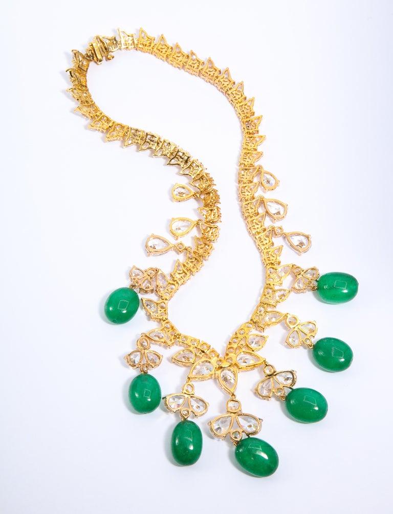 Glamor 1950s Style CZ Faux Cabochon Emerald Drop Necklace For Sale 1