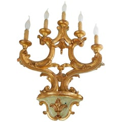 Magnificent 19th Century French Hand-Carved Painted Wood Sconce