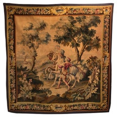 Magnificent 19th Century French Verdue Wood Handwoven Tapestry
