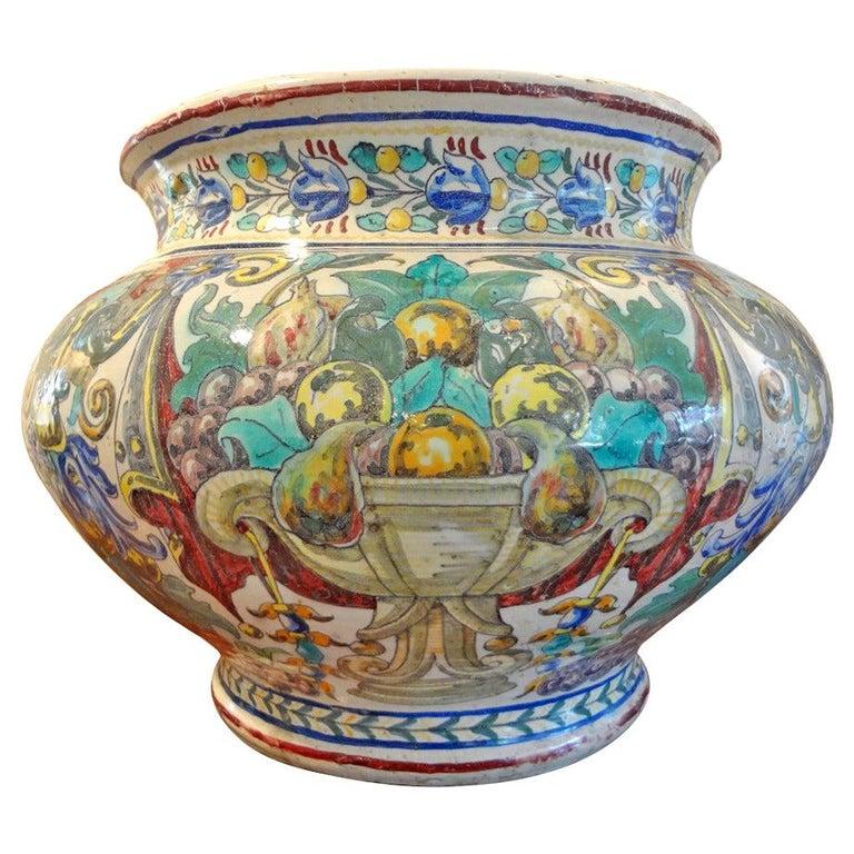 Magnificent 19th Century Italian Majolica Jardinière For Sale